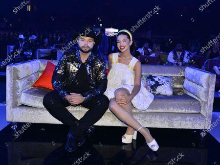 Leonardo Aguila and Angela Aguilar attend Premios Juventud 2021 at Watsco Center22 July 2021