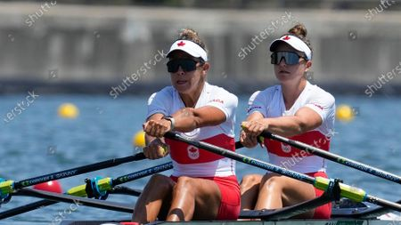 Stock Picture of Jessica Sevick and Gabrielle Smith, of Canada, competes in the women's double sculls at the 2020 Summer Olympics, in Tokyo, Japan