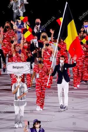 Stock Image of Belgian Athlete Nafissatou Nafi Thiam, Belgian Hockey player Felix Denayer and Team Belgium athletes pictured during the opening ceremony of the 'Tokyo 2020 Olympic Games' in Tokyo, Japan on Friday 23 July 2021. The postponed 2020 Summer Olympics are taking place from 23 July to 08 August 2021.