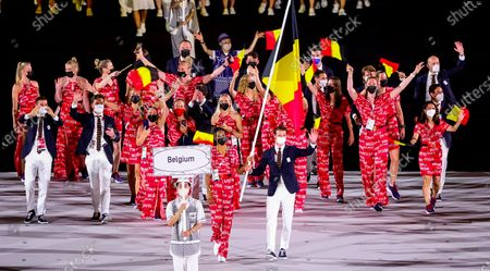 Belgian Athlete Nafissatou Nafi Thiam, Belgian Hockey player Felix Denayer and Team Belgium athletes pictured during the opening ceremony of the 'Tokyo 2020 Olympic Games' in Tokyo, Japan on Friday 23 July 2021. The postponed 2020 Summer Olympics are taking place from 23 July to 08 August 2021.
