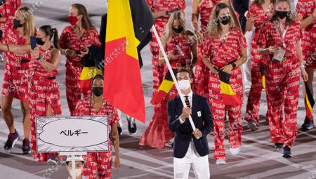 Stock Picture of Belgian Athlete Nafissatou Nafi Thiam and Belgian Hockey player Felix Denayer carrying the Belgian flag during the opening ceremony of the 'Tokyo 2020 Olympic Games' in Tokyo, Japan on Friday 23 July 2021. The postponed 2020 Summer Olympics are taking place from 23 July to 08 August 2021.