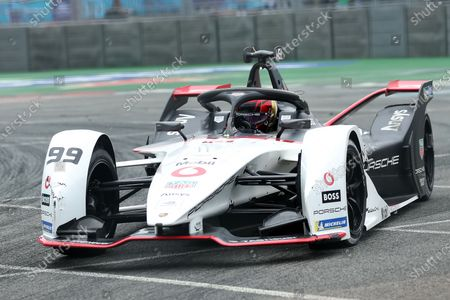 Stock Picture of Pascal Wehrlein of Germany driving for (99) TAG Heuer Porsche during Race 1 event; Excel Circuit, Docklands, London, England; Formula E London E Prix.