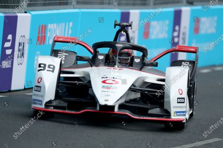 Pascal Wehrlein of Germany driving for (99) TAG Heuer Porsche during qualifying; Excel Circuit, Docklands, London, England; Formula E London E Prix.