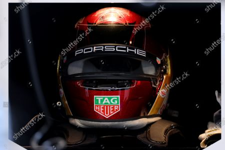 Stock Image of A detail view of the helmet worn by Pascal Wehrlein of Germany driving for (99) TAG Heuer Porsche for the race 2 event; Excel Circuit, Docklands, London, England; Formula E London E Prix.