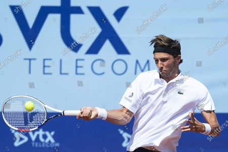 Arthur Rinderknech of France in action during the quarterfinal match against Laslo Djere of Serbia at the Swiss Open tennis tournament in Gstaad, Switzerland, 23 July 2021.