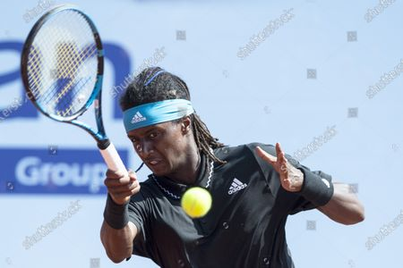Mikael Ymer of Sweden in action during the quarterfinal match against Vit Kopriva of Czech Republic at the Swiss Open tennis tournament in Gstaad, Switzerland, 23 July 2021.
