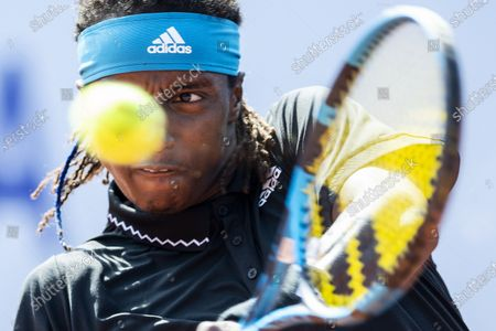 Stock Image of Mikael Ymer of Sweden in action during the quarterfinal match against Vit Kopriva of Czech Republic at the Swiss Open tennis tournament in Gstaad, Switzerland, 23 July 2021.