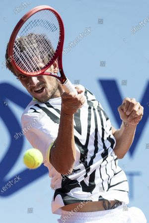 Vit Kopriva of Czech Republic in action during the quarterfinal match against Mikael Ymer of Sweden at the Swiss Open tennis tournament in Gstaad, Switzerland, 23 July 2021.