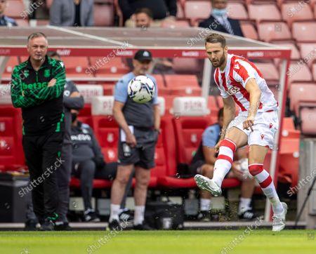 Nick Powell of Stoke City crosses the ball; Bet365 Stadium, Stoke, Staffordshire, England; Pre Season Friendly Football, Stoke City versus Aston Villa.