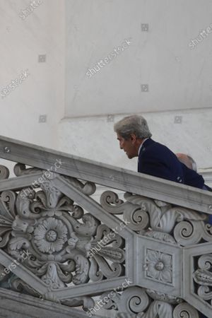 Special Presidential Envoy for Climate John Kerry leaves after a photo opportunity with Italian Minister for Ecological Transition Roberto Cingolani, at Palazzo Reale in Naples, Italy, where a G20 meeting on environment, climate and energy is under way