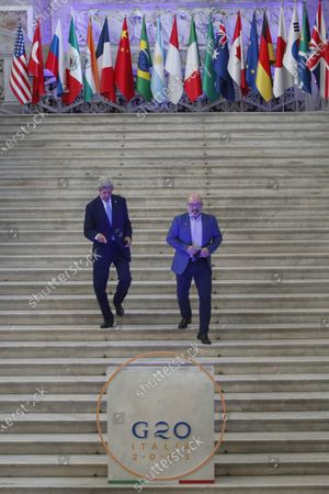 Special Presidential Envoy for Climate John Kerry arrives for a photo opportunity with Italian Minister for Ecological Transition Roberto Cingolani at Palazzo Reale in Naples, Italy, where a G20 meeting on environment, climate and energy is under way