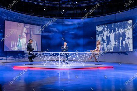 """Journalist Davide parenzo, the director Marco Bellocchio, the journalist Concita De Gregorio during the tv show """"In Onda"""""""