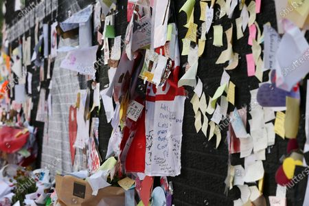 Messages cover the mural of Marcus Rashford in Withington. The messages are to be removed today over fears that they will damaged by rain.