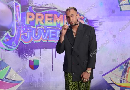 Stock Image of Justin Quiles arrives at the 2021 Univision's Premios Juventud awards show at the University of Miami, Watsco Center,, Miami, Florida on Thursday,  July 22, 2021.