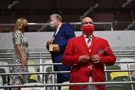 Prince Albert II of Monaco arrives during the opening ceremony in the Olympic Stadium at the 2020 Summer Olympics, in Tokyo, Japan