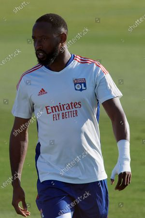 Stock Image of Moussa Dembele of Olympique Lyonnais during the warm-up before the pre-season friendly match between Olympique Lyonnais and Villarreal CF at Pinatar Arena on July 21, 2021 in Murcia, Spain.