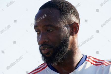 Stock Photo of Moussa Dembele of Olympique Lyonnais during the warm-up before the pre-season friendly match between Olympique Lyonnais and Villarreal CF at Pinatar Arena on July 21, 2021 in Murcia, Spain.