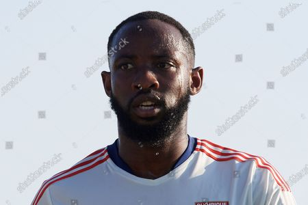 Moussa Dembele of Olympique Lyonnais during the warm-up before the pre-season friendly match between Olympique Lyonnais and Villarreal CF at Pinatar Arena on July 21, 2021 in Murcia, Spain.