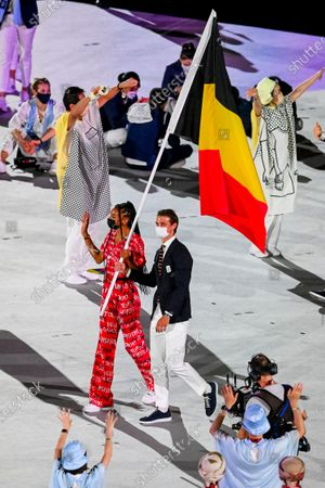 Belgian Athlete Nafissatou Nafi Thiam and Belgian Hockey player Felix Denayer carrying the Belgian flag during the opening ceremony of the 'Tokyo 2020 Olympic Games' in Tokyo, Japan on Friday 23 July 2021. The postponed 2020 Summer Olympics are taking place from 23 July to 08 August 2021.
