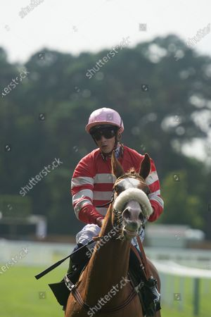 Jockey David Probert wins the Berenberg October Club Supporting Cares Family Fillies Handicap Stakes on horse Havagomecca (Red and white stripped silks and pink cap)