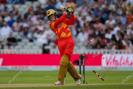 Finn Allen of Birmingham Phoenix is bowled by Mohammad Amir of London Spirit