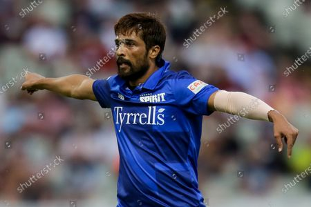 Mohammad Amir of London Spirit gestures in frustration as he continuously keeps bowling wides