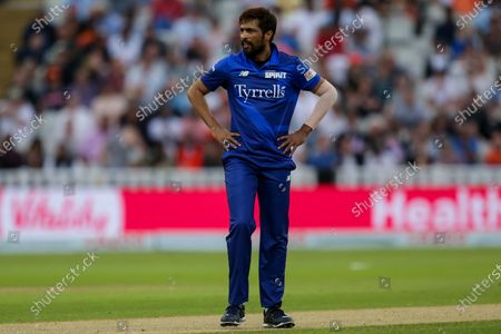 Stock Image of Mohammad Amir of London Spirit cuts a frustrated figure