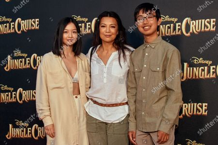Ming-Na Wen with her two children Michaela Kitlin Wen, and Cooper Dominic Zee