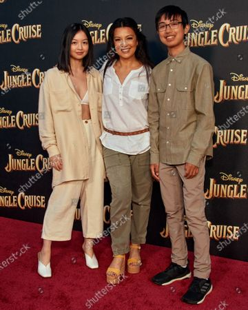 Stock Picture of Ming-Na Wen with her two children Michaela Kitlin Wen, and Cooper Dominic Zee