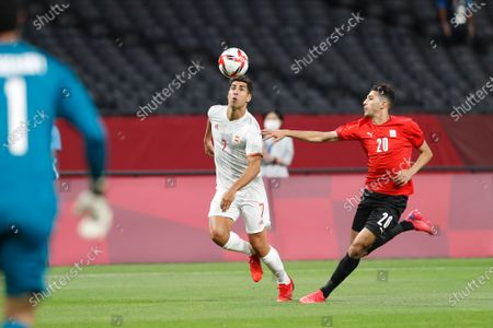 (L-R) Marco Asensio (ESP), Ahmed Fotouh (EGY) - Football / Soccer : Tokyo 2020 Olympic Games Men's football 1st round group C match between Egypt 0-0 Spain at the Sapporo Dome in Sapporo, Japan.