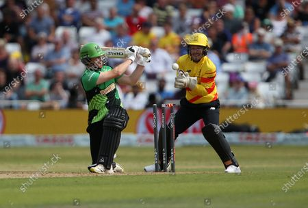 Southern Braves Liam Dawson is bowled by Joe Root of Trent Rockets