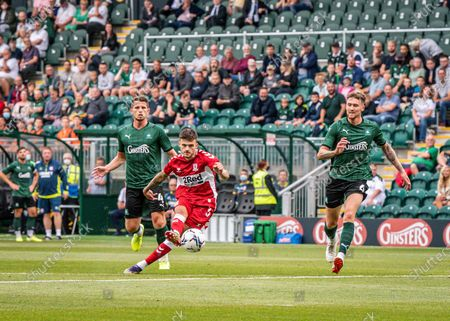 Middlesbrough Midfielder Sam Morsy (5) takes a shoot and misses the target  during the Pre-Season Friendly match between Plymouth Argyle and Middlesbrough at Home Park, Plymouth