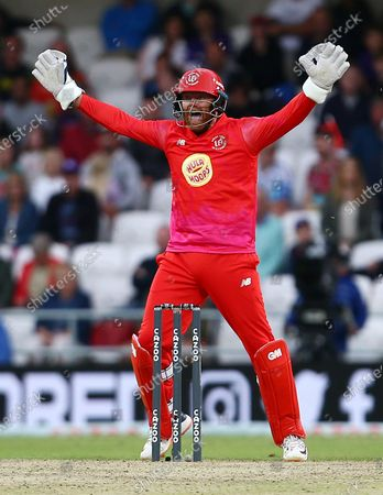 Jonny Bairstow of Welsh Fire celebrates Harry Brook of Northern Superchargers losing his wicket