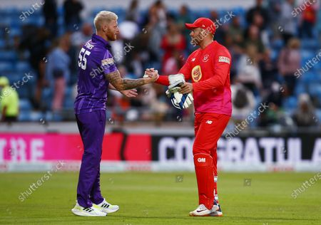 Ben Stokes of Northern Superchargers shakes hands with Jonny Bairstow of Welsh Fire at the end of the game