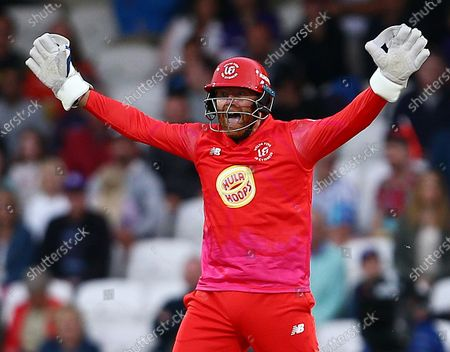 Stock Picture of Jonny Bairstow of Welsh Fire celebrates Harry Brook of Northern Superchargers losing his wicket