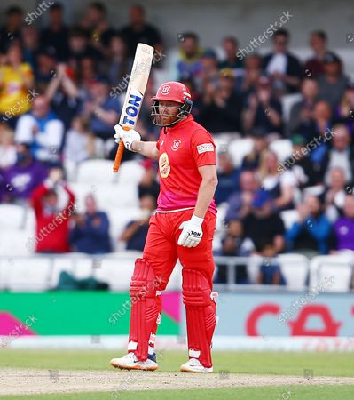 Jonny Bairstow of Welsh Fire celebrates hitting 50 runs