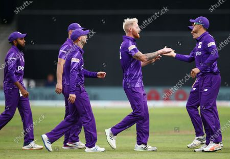 Ben Stokes of Northern Superchargers celebrates taking the wicket of Jonny Bairstow of Welsh Fire