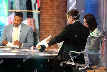 Michael Strahan, Cecilla Vega, George Stephanopoulos on Good Morning America to talk about new movie Snake Eyes