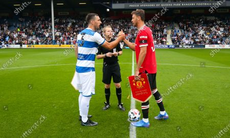 Lee Wallace of QPR  & Nemanja Matic of Manchester United