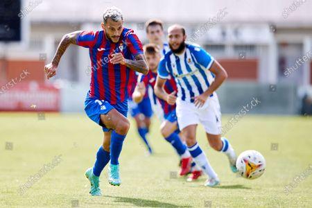 "Juan Diego Molina ""Stoichkov"" of SD Eibar in action during the preseason game ahead of the start of La Liga Santander between Real Sociedad and Deportivo Alaves at Reale Arena stadium on Jul 24, 2021 in San Sebastian, Spain."