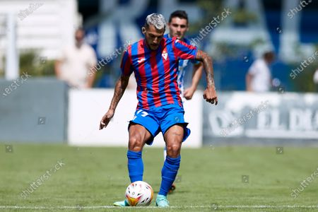 """Stock Picture of Juan Diego Molina """"Stoichkov"""" of SD Eibar in action during the preseason game ahead of the start of La Liga Santander between Real Sociedad and Deportivo Alaves at Reale Arena stadium on Jul 24, 2021 in San Sebastian, Spain."""