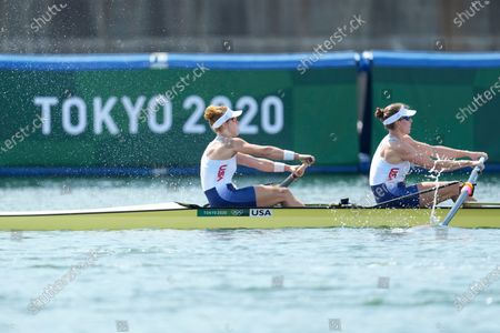 Stock Picture of Megan Kalmoe and Tracy Eisser of the United States, compete during the women's rowing pair heat at the 2020 Summer Olympics, in Tokyo, Japan