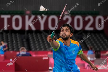 India's B. Sai Praneeth plays against Israel's Misha Zilberman during their men's singles badminton match at the 2020 Summer Olympics, in Tokyo, Japan