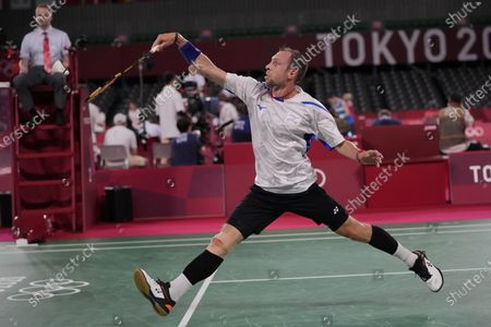 Stock Picture of Israel's Misha Zilberman plays against India's B. Sai Praneeth during their men's singles group stage badminton match at the 2020 Summer Olympics, in Tokyo, Japan