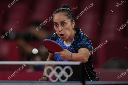 Chile's Maria Paulina Vega competes during the table tennis women's singles first round match against Mongolia's Bolorerdene Batmunkh at the 2020 Summer Olympics, in Tokyo