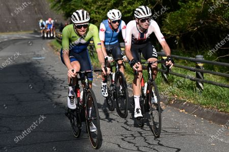 Brandon McNulty of USA, Tadej Pogacar of Slovenia and Michael Woods of Canada in the break away group