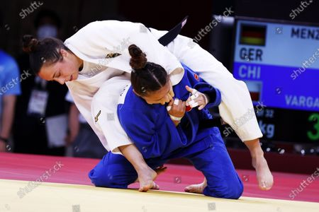 Stock Picture of Katharina Menz (white) in action against Mary Dee Vargas Ley of Chile during their bout in the Women -48 kg Elimination Round of 32 at Judo competitions of the Tokyo 2020 Olympic Games at the Nippon Budokan arena in Tokyo, Japan, 24 July 2021.