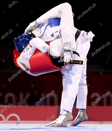 Mens -58kg. Jack Woolley (red) vs Lucas Lautaro Guzman (blue). Ireland's Jack Wooley in action against Lucas Lautaro Guzman of Argentina