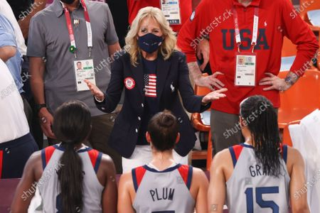 USA First Lady Jill Biden speaks to US players after watching the Women's Pool Round match between France and the USA in the 3x3 Basketball events of the Tokyo 2020 Olympic Games at the Aomi Urban Sports Park in Tokyo, Japan, 24 July 2021.