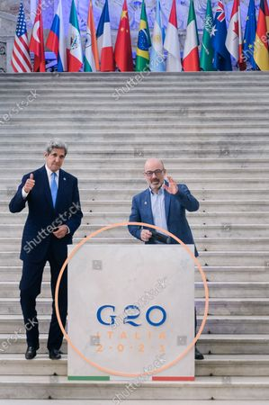 John Kerry (L), US Special Presidential Envoy for Climate, and Italian Minister for Ecological Transition Roberto Cingolani (R) pose for photographs behind the G20 logo.Italian Minister of the Ecological Transition Roberto Cingolani chaired the G20 Environment, Climate and Energy Joint Ministerial Meeting, on the second day in Naples, organized within the framework of the Italian Presidency of the G20. The meeting, held at the Royal Palace, had seen the participation of keynote speakers coming from the G20 countries and several international institutions and organizations.